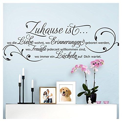 Grandora Wandtattoo Zitat Zuhause ist wo die Liebe wohnt I schwarz (BxH) 80 x 28 cm I Wohnzimmer Flur Diele Aufkleber Wandaufkleber Wandsticker Sticker W942