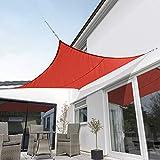 Kookaburra Toldo Vela Rojo Impermeable 160g/m² Poliéster Protección Solar 98% Anti UV para Exteriores, Patios, Jardines, Terraza, Balcón (Cuadrado 5,4m)
