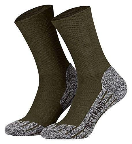 Tobeni 2 Paires Coolmax Hightech Sport Trekking Chaussettes Fonctionnelles pour les Femme et les Homme Couleur Kaki Taille 47-49