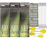 JSHANMEI 25pcs Carp Fishing Hair Rigs Kit, Including 18pcs Carp Rigs 3 Cards Boilie Stoppers and 4pcs Bait...