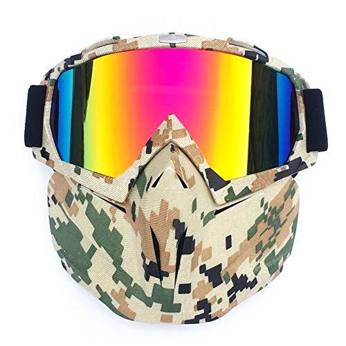 Met masker snowboardbril, warm houden verstelbaar, anti-condens, UV-bescherming, wintersportbril voor sneeuwscooter, skiën of skaten, met magneet snelle lens