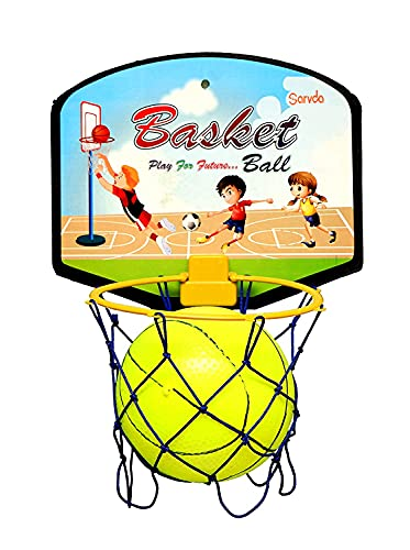 Sarvda Basket Ball for Kids Toys for Boys and Girls Portable Set with Hanging Board, Ring Net, Ball Indoor and Outdoor Games Good Pastime Birthday and Return Gift Set Standard