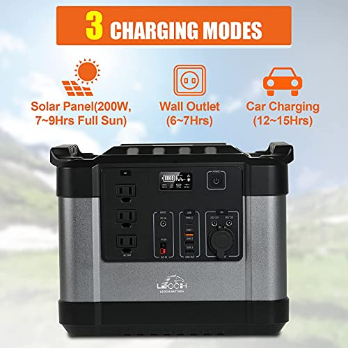 Leoch 1100Wh Portable Power Station, Solar Powered Generator with PD 60W, 1000W/110V Pure Sine Wave AC Outlet, Outdoor Backup Lithium Battery for Camping, Fishing, Road Trip, Off-Grid