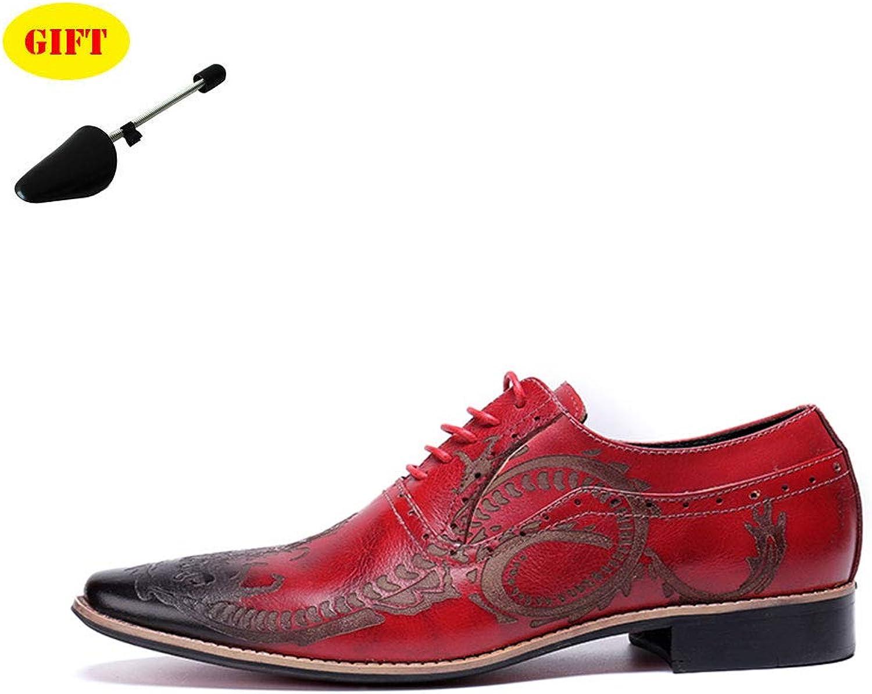 BJHH Sommer Herren Lederschuhe Lederschuhe Lederschuhe England Flut Schuhe Casual Business Dress Schuhe Herren Pointed rot Printed Hochzeitsschuhe,rot,EU46 UK9.5 28f
