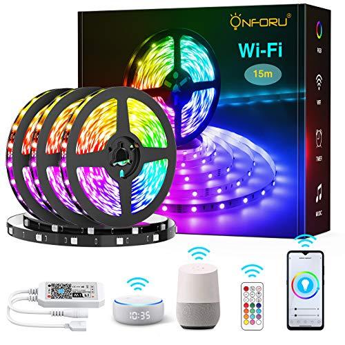 Onforu 15M LED Strip Alexa, Smart WiFi RGB Streifen, APP Steuerbar Musik Synchronisierung, Kompatibel mit Alexa, Google Home, Selbstklebend 5050 Farbig WLAN Lichtband für Zimmer, Party, Weihnachten