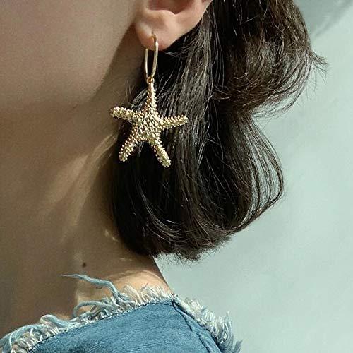 Doubnine Sea Star Starfish Earrings Golden Hoop Dangle Mermaid Beach Statement Summerfeels Festvial Women Accessories Gift