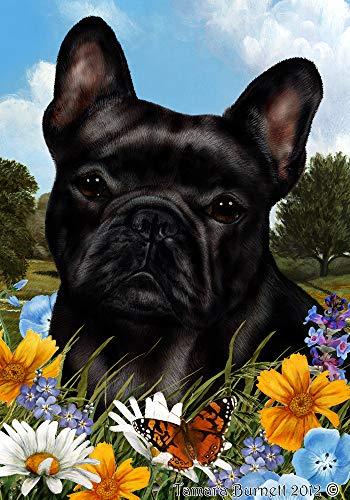 French Bulldog Black - Best of Breed Summer Flowers Garden Flags