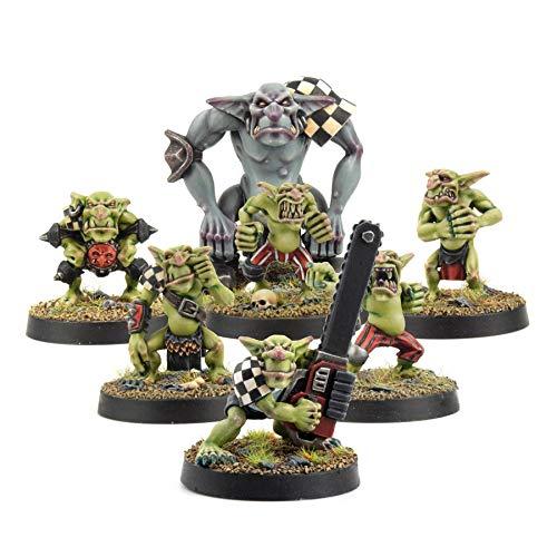 War World Gaming Goblin Gang mit Troll & Kobold mit Kettensäge Miniatur Set - 28mm Fantasie Figuren Unbemalte Harz Mittelalter Modellbau Tabletop Gelände Malen Malerei