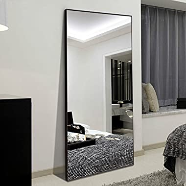 H&A 65 x22  Full Length Mirror Bedroom Floor Mirror Standing or Hanging (Black)