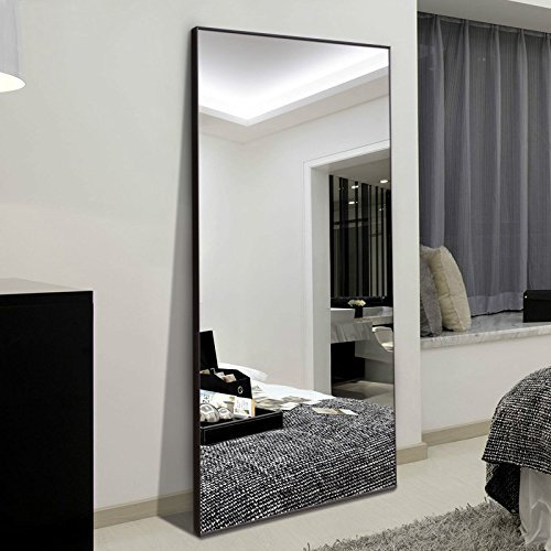 H&A 65'x24' Full Length Mirror Bedroom Floor Mirror Standing or Hanging (Black)