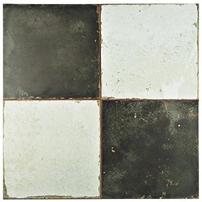 """SomerTile FPESTRN Reyes Astre Ceramic Floor and Wall Tile, 17.625"""" x 17.625"""", Cream/Beige/Black"""