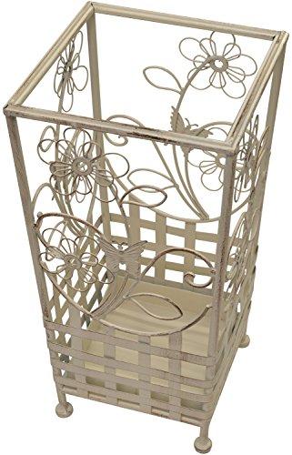 Maribelle - Wanderstock- und Schirmständer - Florales Design - Metall - Weiß mit Antik-Finish