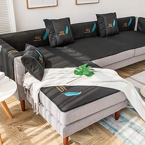 Homeen Funda de sofá de verano para sofá de cuero, funda de sofá de 2/3/4 plazas, funda antideslizante para asiento de sofá – 80 x 160 cm