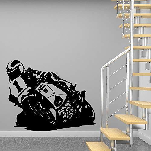 Cool Motor Fiets Vinyl Muursticker Moderne Mode Muursticker voor Jongens Slaapkamer Decor Kids Kamer Decoratie Muursticker 57CM X 72CM