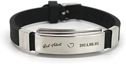 Fanstown RED Velvet Kpop Stainless Steel Silicon Wristband Anti-Rust and Water Prove with lomo Cards