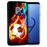 for Samsung S9, Galaxy S9, Durable Protective Soft Back Case Phone Cover, NiceTEK HOT12366 Flame Football Soccer 12366