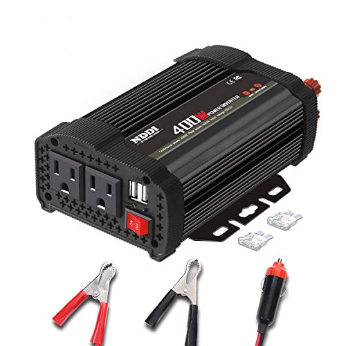 400W Car Power Inverter, DC 12V to 110V AC Converter with 2 Charger Outlets and Dual 3.1A USB Ports Cigarette Lighter Socket Adapter(Black)