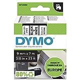 DYMO D1-Etikettenband Authentisch | 9mmx7m | schwarzer Druck auf weißem Untergr& | selbstklebendes Schriftband | für LabelManager-Beschriftungsgerät