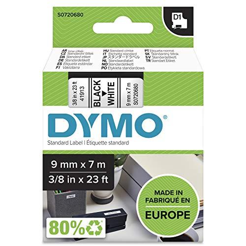 DYMO D1-Etikettenband Authentisch | 9mmx7m | schwarzer Druck auf weißem Untergrund | selbstklebendes Schriftband | für LabelManager-Beschriftungsgerät