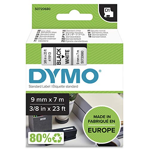 Dymo D1 Etichette Autoadesive per Stampanti LabelManager, Rotolo da 9 mm x 7 m, Stampa Bianco su Nero, 1 Pezzo