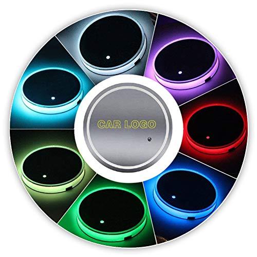 Auto Logo beker licht 7 kleuren houder Pad matten fles onderzetters auto sfeer licht bekerhouder USB opladen decoratie
