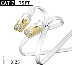 Cat7 Ethernet Cable 75FT White,CAIVOV High Speed 10 Gigabit Shielded (STP) Computer Internet Flat Cable LAN Network Cable with Snagless Rj45 Connectors CAT-7 75 feet White (22.8 Meters)