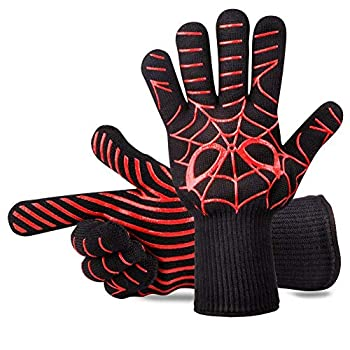 Panshi BBQ Gloves,932°F Heat Resistant Oven Mitts & Potholders Non Slip Grilling Gloves with Spider Man Pattern