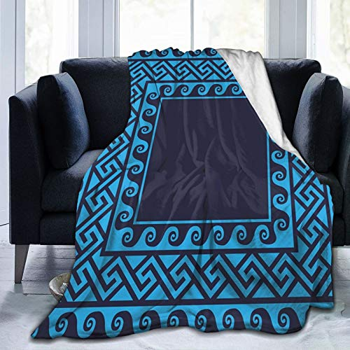 Coperta in pile ultra morbida per adulti anti pile, con onde turbinanti con antichi labirinti motivi ellenici, design ispirato al mare, morbida e confortevole, coperta per divano 203,2 x 152,4 cm