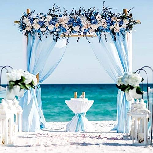 Chiffon Drape Backdrop 2 Packs 4.9ft x 10ft Baby Blue Chiffon Fabric for Party Background Curtains
