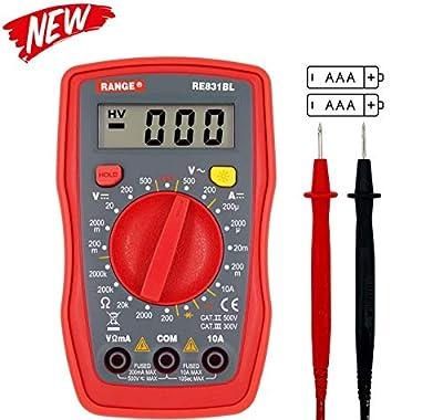 RANGE RE831BL Palm Size Digital Multimeter Handheld AC DC Voltage Ohm Tester Meter(CAT III 300V protection) (Red)