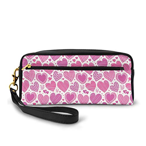 Pencil Case Pen Bag Pouch Stationary,Romantic Heart Shapes with Different Designs Polka Dots Crossed Lines Love,Small Makeup Bag Coin Purse