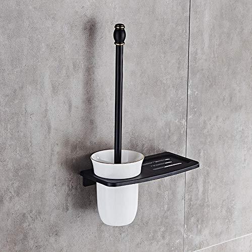 OHHCO Escobilla WC Escobillas de Baño Antigüedad/Negro/Blanco WC Portaescobillas con Estantes De Baño Inodoro Cepillo Limpio De Baño Accesorios-White (Color : Black)