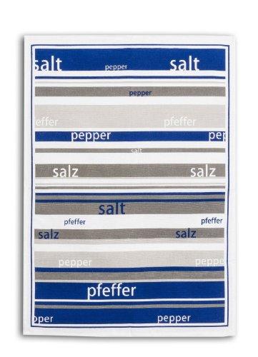 Triolino 000809 halflinnen theedoeken zout en peper in 3-pack in 3 kleuren maat 50 x 70 cm, kleur: gesorteerd op kleur 50 cm x 70 cm blauw