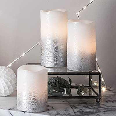 Lights4fun, Inc. Set of 3 Metallic Ombre Flameless LED Battery Operated Wax Pillar Candles for Indoor Use