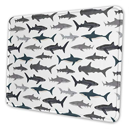 Mouse Pad Sharks Nautical Boys Non-Slip Rubber Base Stitched Edges Gaming Mousepad for Computers Laptop