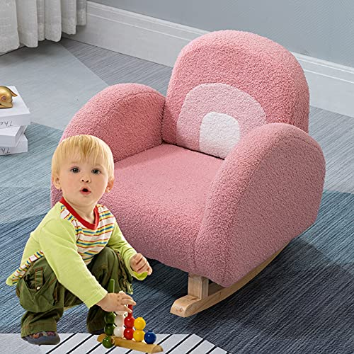 Sanery Kids Rocking Chair Toddler Children 2-6 Years Rocker Armchair Sofa Lounge Velvet Fabric Back Support Couch Tub Chairs Sofa for Bedroom Nursery Room, Pink
