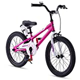 RoyalBaby Kids Bike Boys Girls Freestyle BMX Bicycle With Kickstand Gifts for Children Bikes 18 Inch Fuchsia