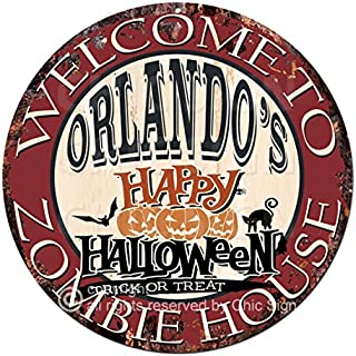 Welcome to The Orlando'S Happy Halloween Zombie House Chic Tin Sign Rustic Shabby Vintage Style Retro Kitchen Bar Pub Coffee Shop Man cave Decor Gift Ideas