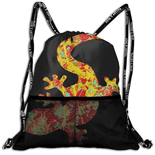 DPASIi Bolsa de cordón con diseño de Gecko de varios colores artísticos, bolsa de viaje, bolsa de viaje, bolsa de poliéster, bolsa de zapatos, cierre de cuerda ajustable