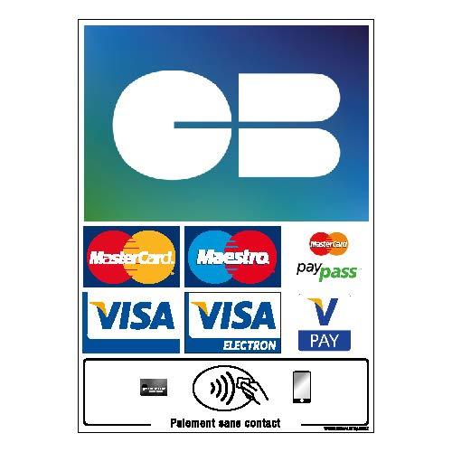 Sticker Autocollant Paiement Carte Bancaire et sans Contact - Dimensions 150x210 mm - Protection Anti-UV