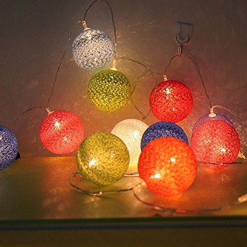 Morbuy Guirlande Lumineuse Boule, Cosy Boules Coton 30 LED Batterie Éclairage 6cm Balle Ficelle Lumière Décoration pour La Saint Valentin Noël Mariage Fêtes (4.8M/30 Boule lumière, Arc En Ciel Coloré)