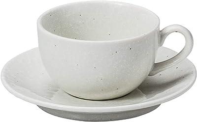 山下工芸 カップ_ソーサー 磁器 φ9×5.6cm(210cc) 粉引黒斑点カプチーノ碗と受皿 15054080