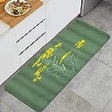 VINISATH Helichrysum Sandless Siempreviva Planta Medicinal Estepa Hierba Floral Naturaleza Alfombrillas de Cocina Antideslizantes Felpudo Lavable Juego de Alfombras de Microfibra