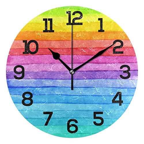 AMONKA Bunte Regenbogen-Streifen-Wanduhr ohne Ticken, geräuschlose Acryl-Uhren für Wohnzimmer, Schlafzimmer, Küche, Schule, Büro