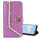 Nadoli Leder Hülle für Huawei P30 Lite,Luxus Bling Glitzer Diamant 3D Handyhülle im Brieftasche-Stil Perle Herz Flip Schutzhülle Etui für Huawei P30 Lite,Lila