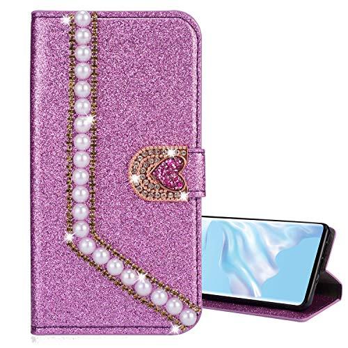 Nadoli Leder Hülle für iPhone SE,Luxus Bling Glitzer Diamant 3D Handyhülle im Brieftasche-Stil Perle Herz Flip Schutzhülle Etui für iPhone SE 5S 5,Lila
