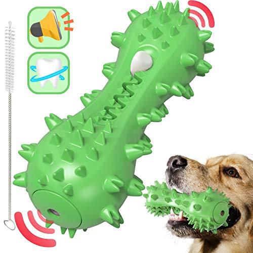 Rmolitty Spazzolino per Cani, Giochi da Masticare Cani, Giochi con Squeak, Giocattolo da Masticare in Gomma Non Tossica per Piccolo e Medio Cani (Verde)