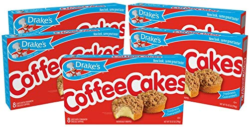 Drake's Coffee Cakes, 40 Individually Wrapped Breakfast Pastries, 13.03 Oz, Cinnamon, 5 Count (Pack of 5)