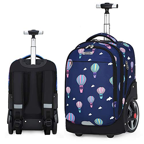 QINQIGBJ 20 inch School Bag, Primary Children School Rolling Trolley Backpacks Waterproof Nylon Kids Luggage,Travel Luggage Books Laptop Bag (Color : Balloon)