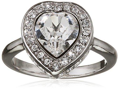 Guess para mujer-anillo de latón en forma de corazón de cristal blanco - UBR28507